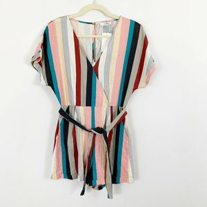 NEW Lush Striped Short Sleeve Romper with Pockets